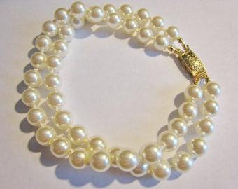 Two Strand Faux Pearl Bracelet