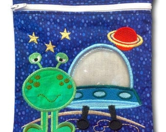 Reusable Quart-size Zipper Embroidered Bag with Window - Alien and Spaceship