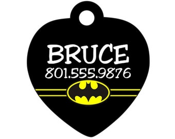 Batman Dog Tag Cat Tag Pet Id Personalized w/ Your Pet's Name & Number