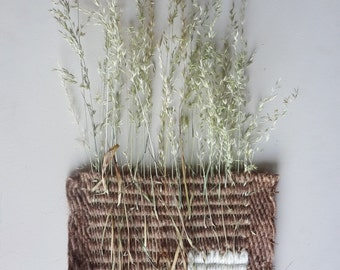 Fiber and Flora,  Real Wild Grass Weave. /  Hand Woven Natural Botanical Wall Art / Organic Natural Floral Decor /Soft Brown & White Wool