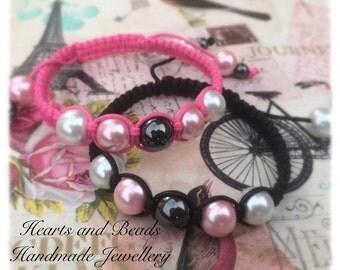 Pink and black semi precious hematite and Fuax pearl woven waxed nylon cord, macrame, beaded, FREE UK POSTAGE
