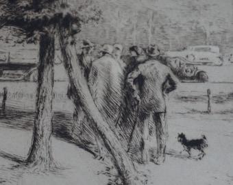 Edgar Chahine Print Titled Au Bois du Bolougne