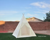 Lily Ivory Lace Teepee Natural Canvas Kids Teepee with window, Kids Play Tent, Childrens Play House, Tipi,Kids Room Decor