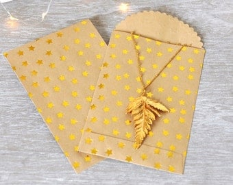 Mini Paper Bags with Gold Embossed stars - pack of 6