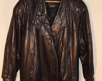 Leather coat black women vintage 80, size large