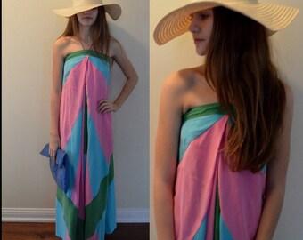 Strapless Dress, Vintage Strapless Dress, Resort Wear, Casual Dress, Maxi Dress, Festival, High Fashion, Diane von Furstenberg, Dress