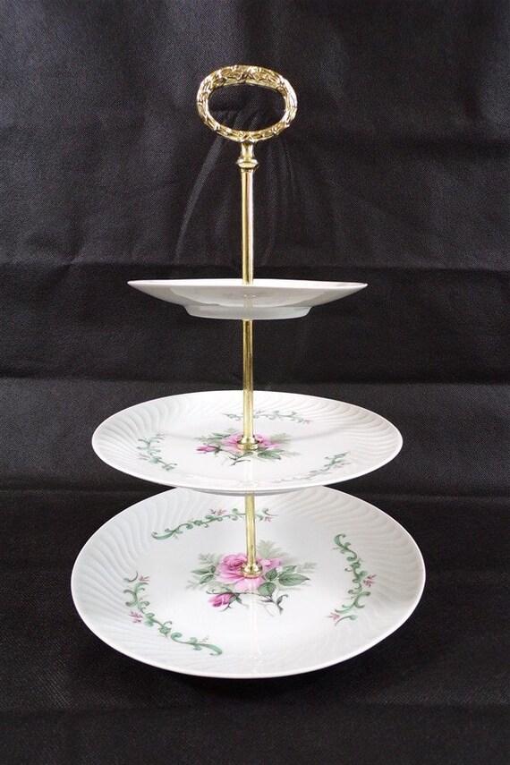 Serviteur à gateaux en porcelaine Germany / roses / deco