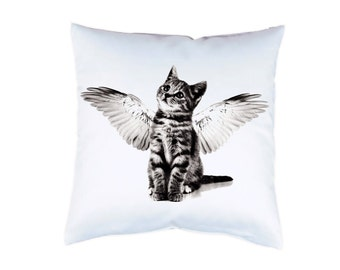"""Pillow case 16"""" cat kitten with wings cushion cover with print on both sides optional with filling"""