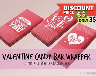 Valentine Candy Bar Wrapper - Chocolate Bar - Love - Printable Instant download