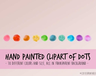 Watercolor Dots Clip Art, Watercolor Washes, Rainbow Clipart, colorful artistic clipart, Transparent clipart, watercolor dot's