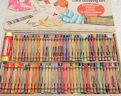 Vintage 1960s Crayola 72 crayon drawing set, includes 7 fluorescent crayons, with sharpener, original box