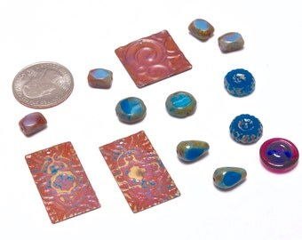 Handcrafted Bead Soup, Glass and Metal, Beading Supplies, Bead Mix, Patina Metals