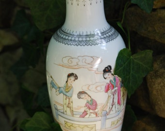 Beautiful White Asian Ladies Vase