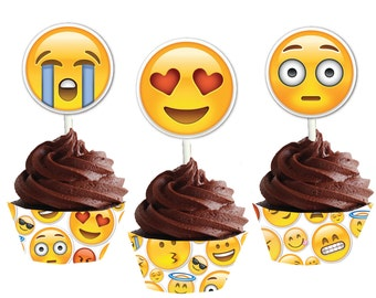 Emoji Cupcake Wrappers and Toppers Instant Download Emoji Cupcake Wrappers and Toppers Party printable