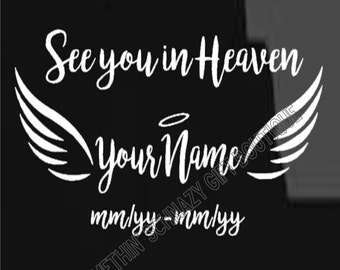 In Memory of Angel Wings Decal, Laptop Decal, Window Decal, Clip Board/Clipboard Decal, Vinyl Sticker, Vinyl Decal, Angels, Wings Decal