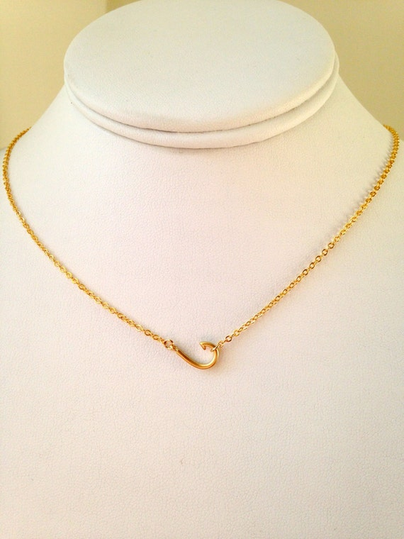 Fish hook gold necklace fish hook silver necklace gold or for Gold fish hook pendant