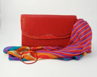 Vintage Red Mesh Handbag, Elka Shoulder Bag, Chain Shoulder Strap, Festival Handbag, Resort Wear, Runway Boho Luxe Handbag, Birthday Gift