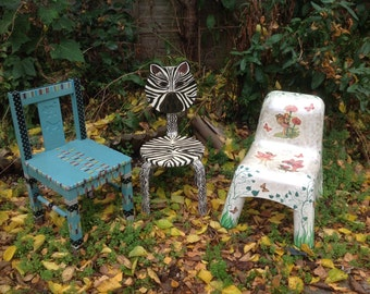 OOAK upcycled child's blue chair