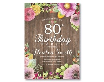 80th Birthday Invitation. Rustic Birthday Invitation for Women. Watercolor Floral Flower. Pink Purple Yellow. Any Age. Printable Digital.