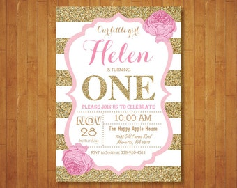 Black And Gold First Birthday Invitation Girl Birthday Party - First birthday invitations girl pink and gold