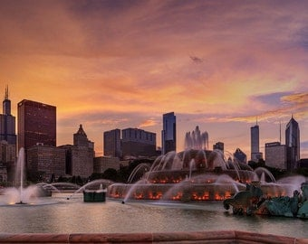 Chicago Buckingham Fountain Art Photography Print Wall Decor
