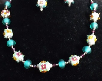 Lampwork floral shabby chic necklace and earrings set