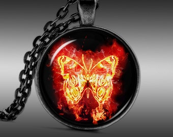 Necklaces, Pendants, Jewellery, Butterfly jewelry, Insect Pendant, Fire Necklace  FRW133
