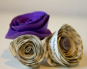 Button Hole/Boutonniere Three Rose for Grooms & Groomsmen - Handmade