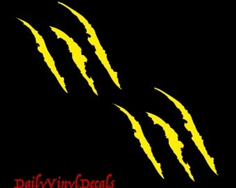 Monster Claw Tears Vinyl Decal - Set of 2 Decals *Choose Size & Color* Claw Tear Stickers - Scratch Claw Beast Tear Marks