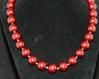12MM Burnt Red Pearl Necklace  18in