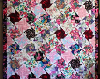 Pink Quilt, Modern Quilt, Vintage Fabric Quilt, Hawaiian Patchwork Quilt, Pinwheel Quilt, Contemporary Quilt, Graduation Gift, Woman's Quilt