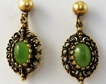 14k Gold Green Chrysoprase Earrings