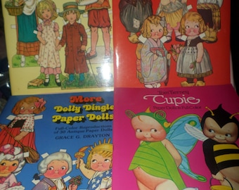 Vintage Dolly Dingle Paper Dolls lot books Cupie Kate Greenaway UNCUT 1978 to 1984