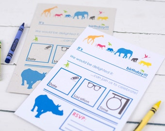 Animal Safari Children's Party Invitations - option of elephant POO paper!