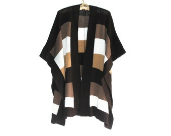 Knitted Oversized Poncho - Vintage Women's Striped Poncho (Dark Brown, Medium Brown, Light Tan/ Brown, and White) - Size SMALL to MEDIUM