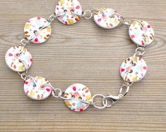 Button bracelet, cupcake button bracelet, button jewelry