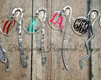 Monogrammed Personalized Bookmark, Metal Bookmark, Silver tone bookmark, Mermaid Bookmark, Acrylic Bookmark, Book Charm, Gift for Readers