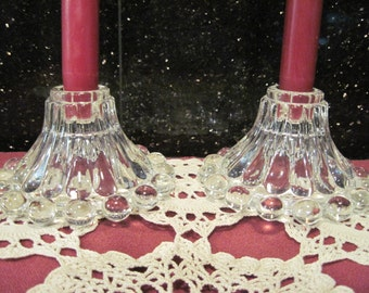 Anchor Hocking Pair of Berwick Boopie-Bubble Candle Holders - Item #1244
