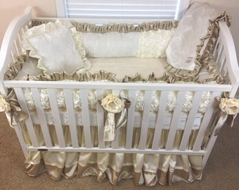 Ivory 3D Roses, Ivory Roses Baby Bedding, Ivory Bedding, Baby Bedding, 3pc or 4pc Bedding Set, Crib Bedding