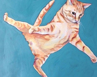 Cat Painting Flying Kitty II