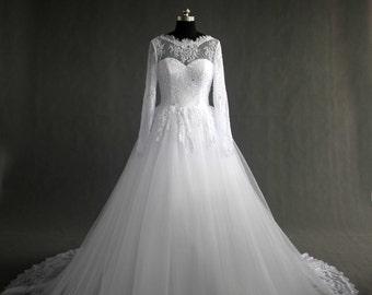 Long Sleeve Ball Gown Bridal Wedding Dress