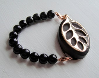 Black Pearl Bracelet for the Rose Gold LEAF by Bellabeat