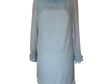 Vintage 1970's Baby Blue dress with chiffon overlay