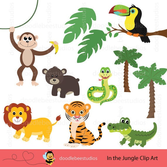 Jungle Animals Clipart, Jungle Friends Clip Art, Safari ...