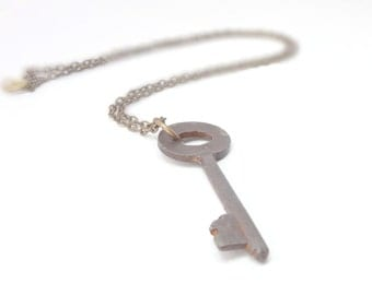 Steampunk Skeleton Key Necklace Rusted Iron