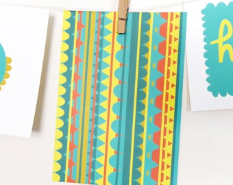 Patterned Colourful Postcard / Print / Patterned Card / A6 / Josie Gledhill Design