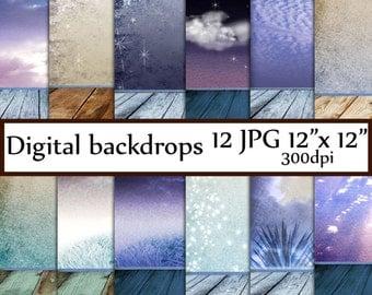 "Newborn Digital Photo Backdrop: ""DIGITAL BACKDROPS"" digital background Backdrop room Night sky backdrop Winter background  boy photo prop"