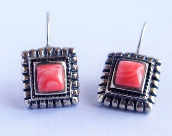 Vintage Pink 925 Sterling Silver Earrings, Pink Salmon Alabaster Mexican ATI Silver Earrings, Southwestern Earrings, Gemstone Earrings,1970s