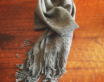 Black, ivory and grey shawl. Fully hand-made with stunning macrame. 100% Baby Alpaca Fiber