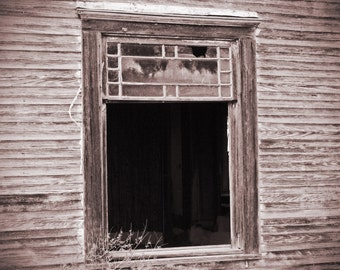 Vintage window photograph, black and white photography, fine art photo, window reflection